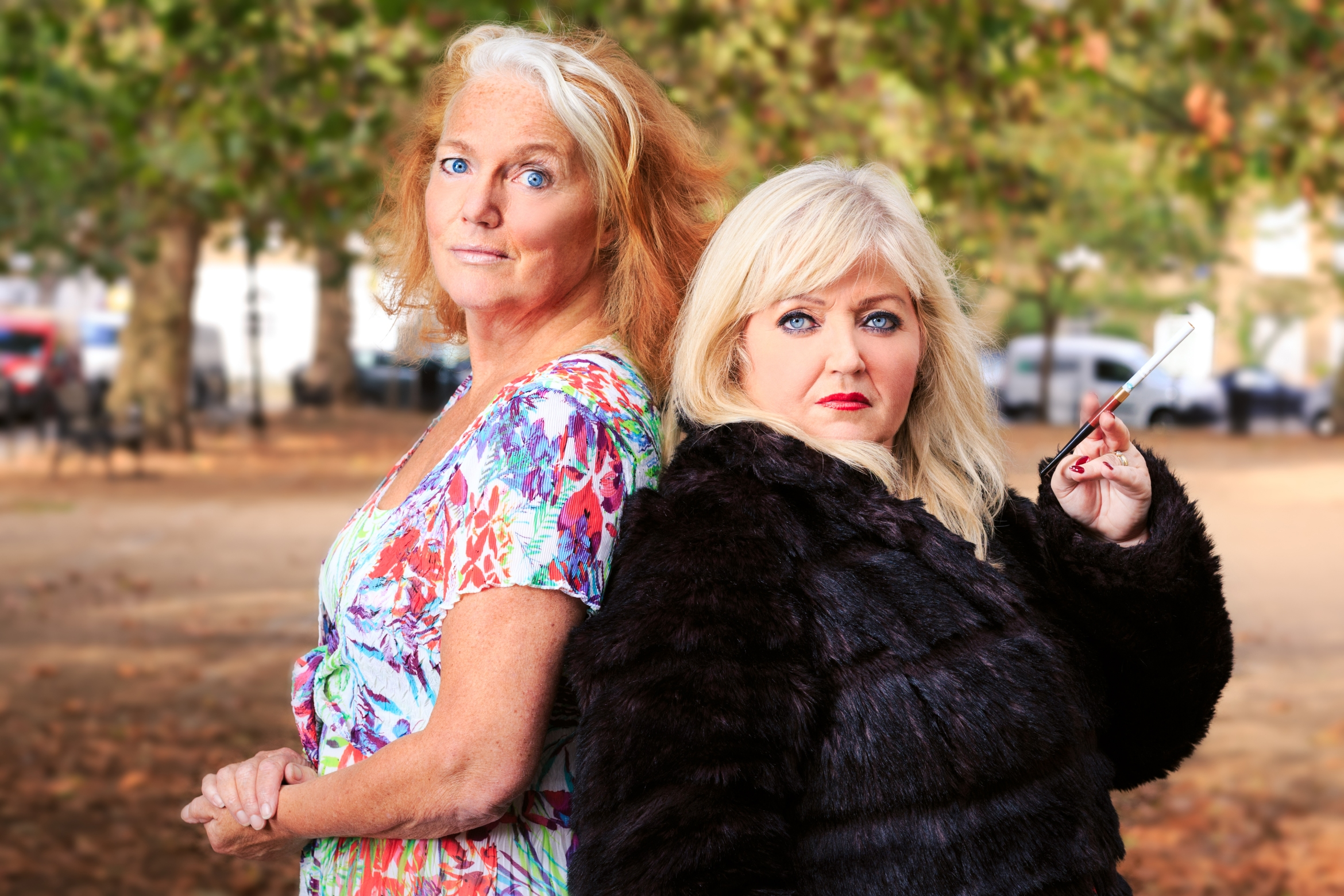 RumpyPumpy Louise Jameson as Jean Johnson and Linda Nolan as madame Holly Spencer Photo Scott Rylander.jpg
