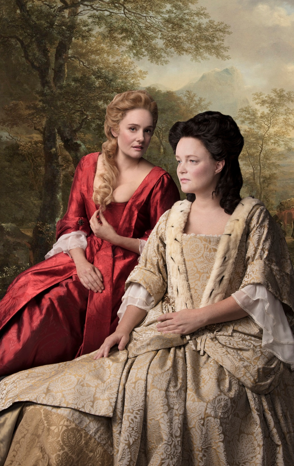 Romola Garai (Sarah, Duchess of Malborough) and Emma Cunniffe (Queen Anne) in Queen Anne. Credit Darren Bell.jpg.jpg