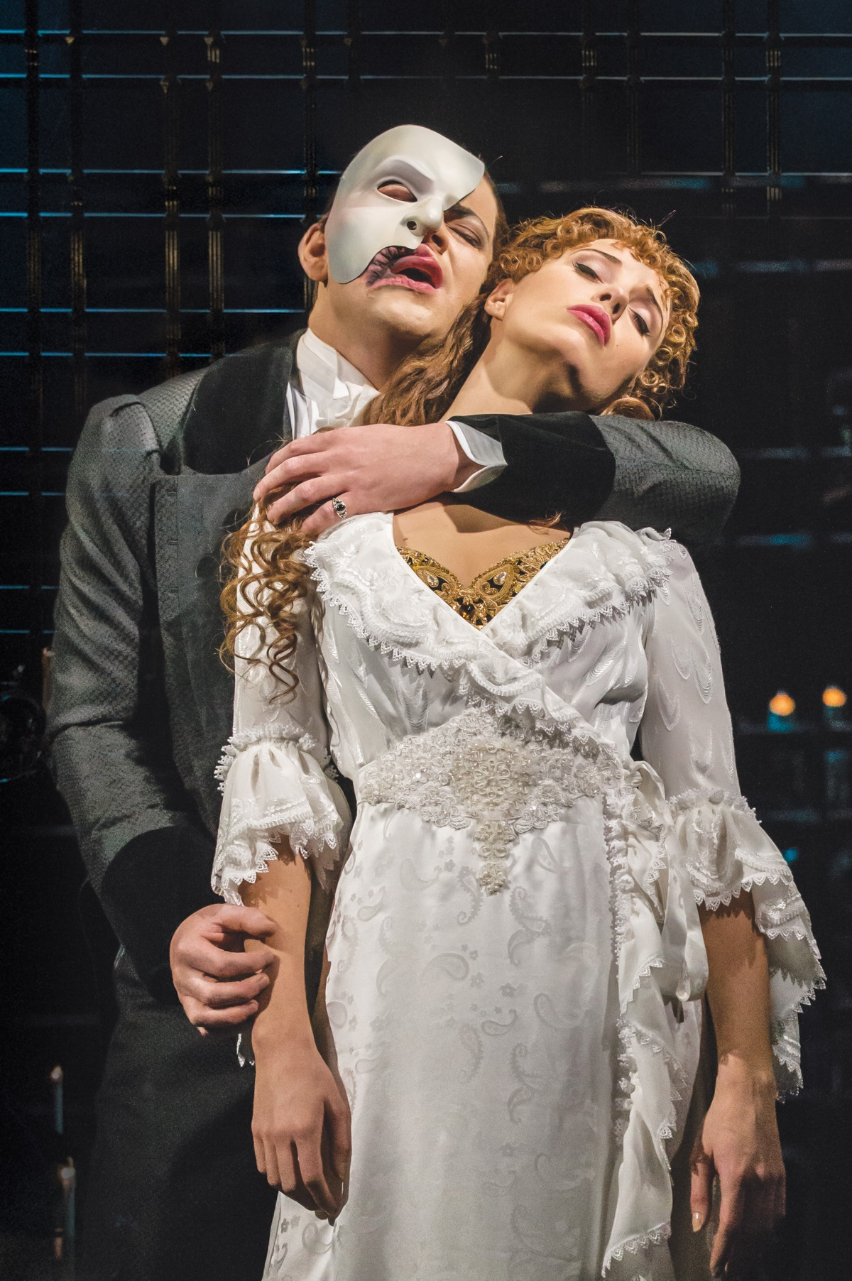 THE PHANTOM OF THE OPERA. Ben Forster as 'The Phantom' and Celinde Schoenmaker as 'Christine Daaé'.  Photo credit Johan Persson.jpg