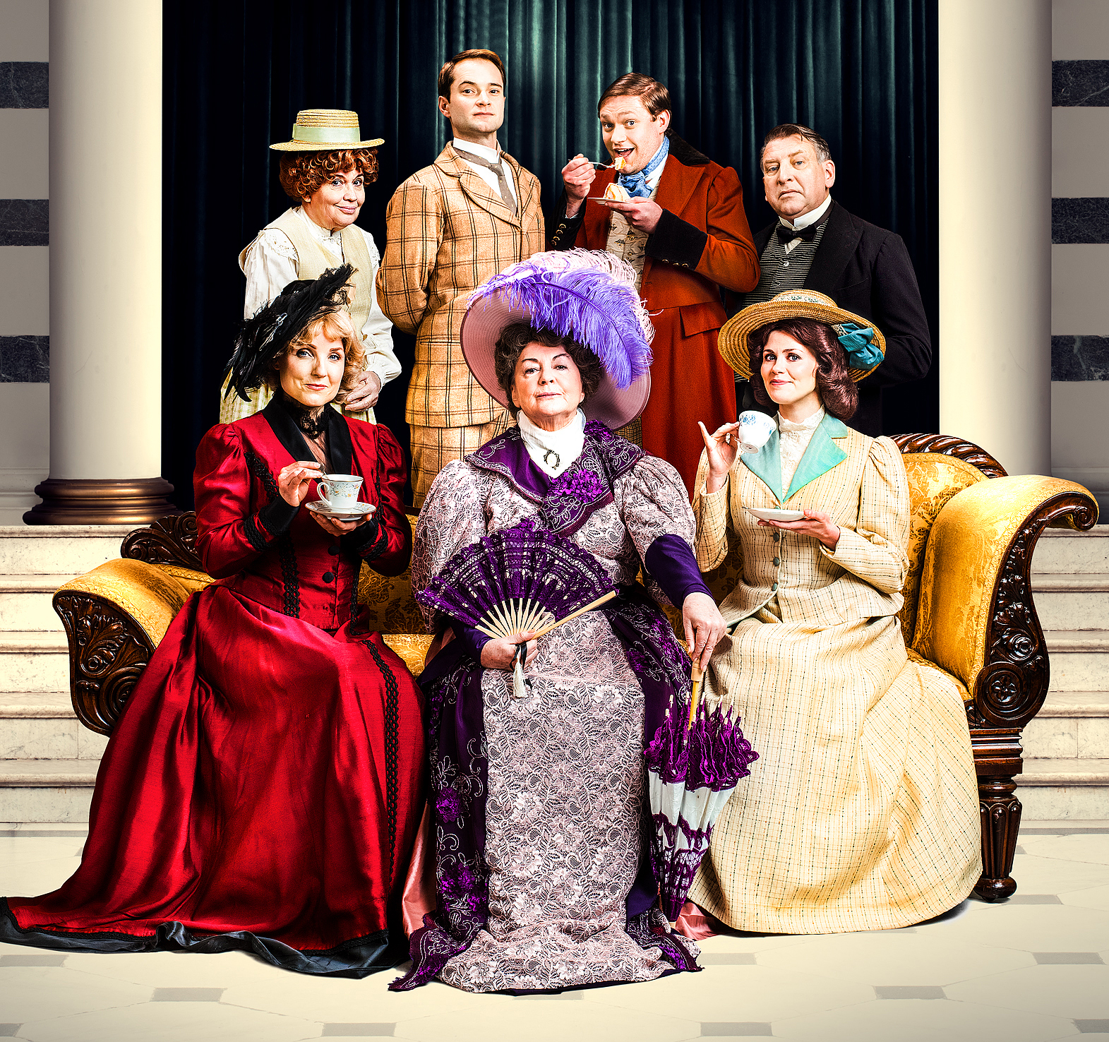 LtoR (Back) Susan Penhaligon Peter Sandys-Clarke Thomas Howes Simon Shackleton (Front) Kerry Ellis Gwen Taylor & Louise Coulthard in The Importance of Being Earnest. Credi