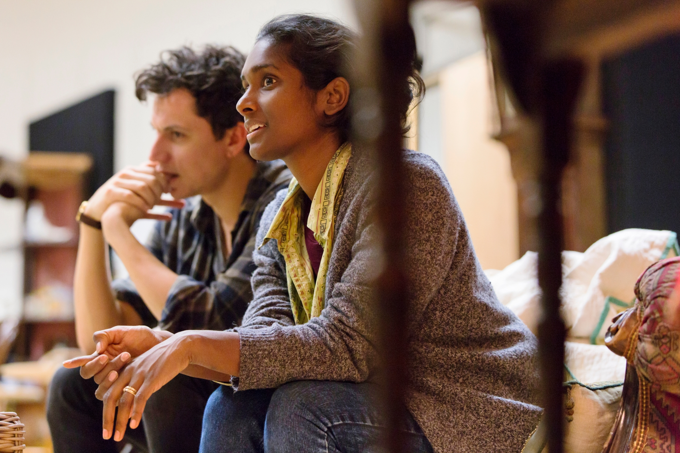1. Tom Mothersdale (Elias) and Anneika Rose (Jenny) rehearsing JOHN at the National Theatre (c) Stephen Cummiskey.jpg