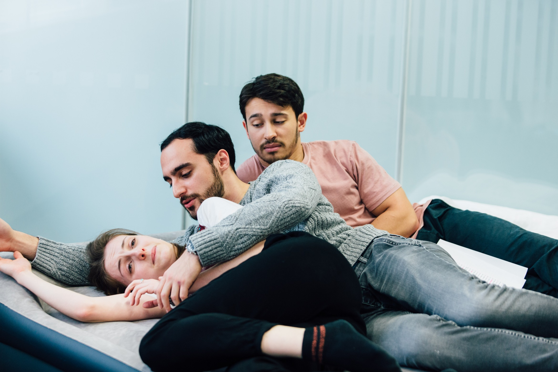 Helen Wilson, Gianbruno Spena and Alistair Toovey in Love Me Now rehearsals, credit of Helen Murray.jpg