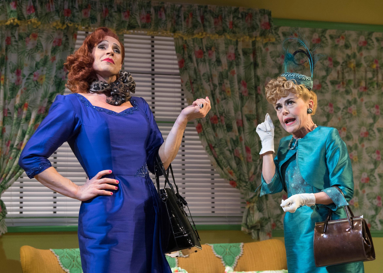 Ruthless! The Musical. Jason Gardiner (Sylvia St. Croix) & Tracey Bennett (Lita). Credit - Alastair Muir.jpg