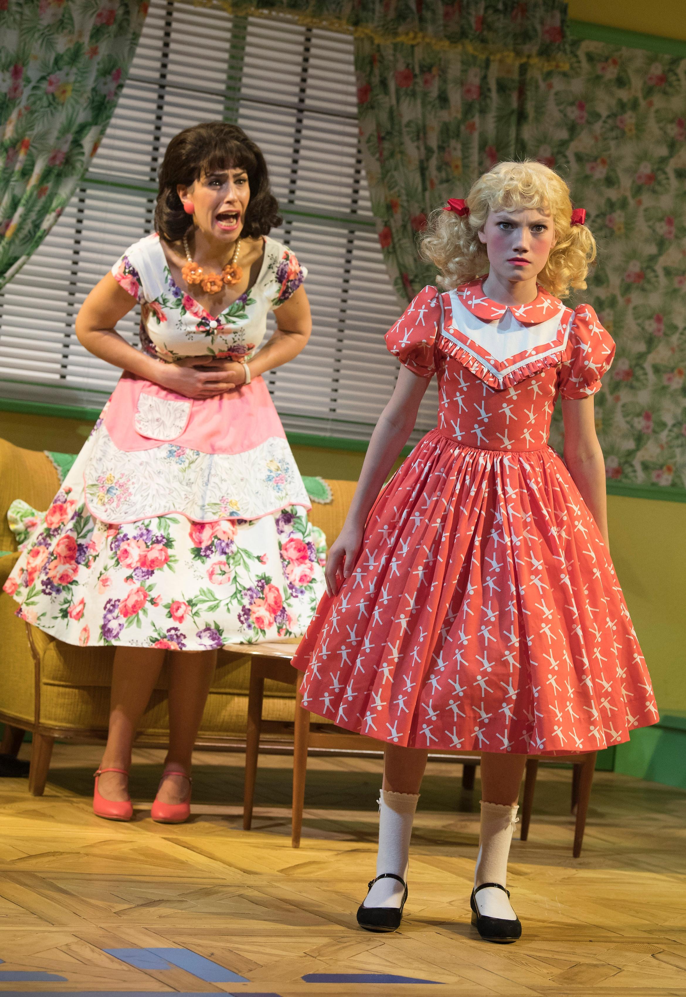 Ruthless! The Musical. Kim Maresca (Judy Denmark) & Lucy Simmonds (Tina Denmark). Credit - Alastair Muir.jpg